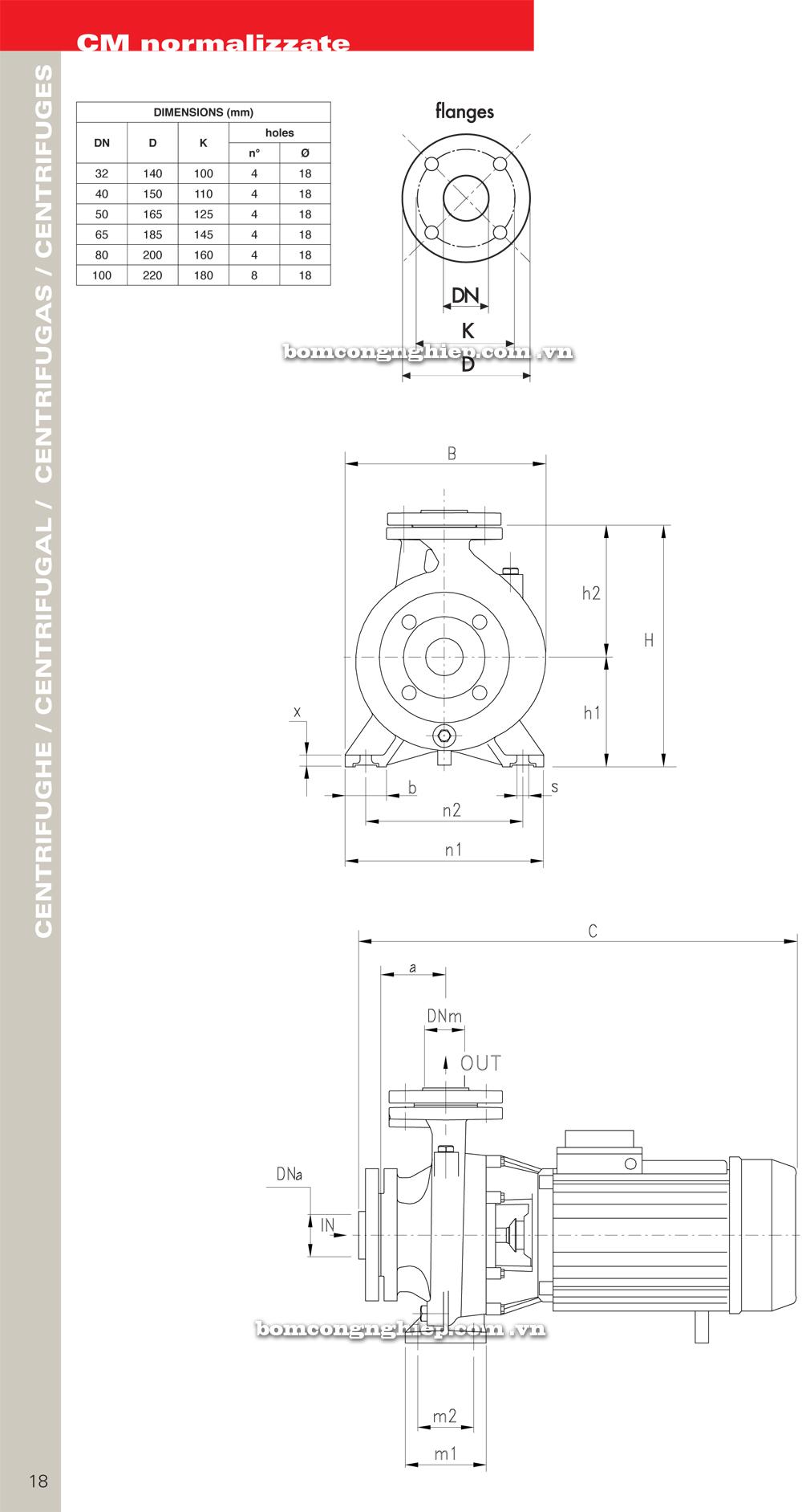 Máy bơm nước Pentax CM 32-160 chi tiết kích thước