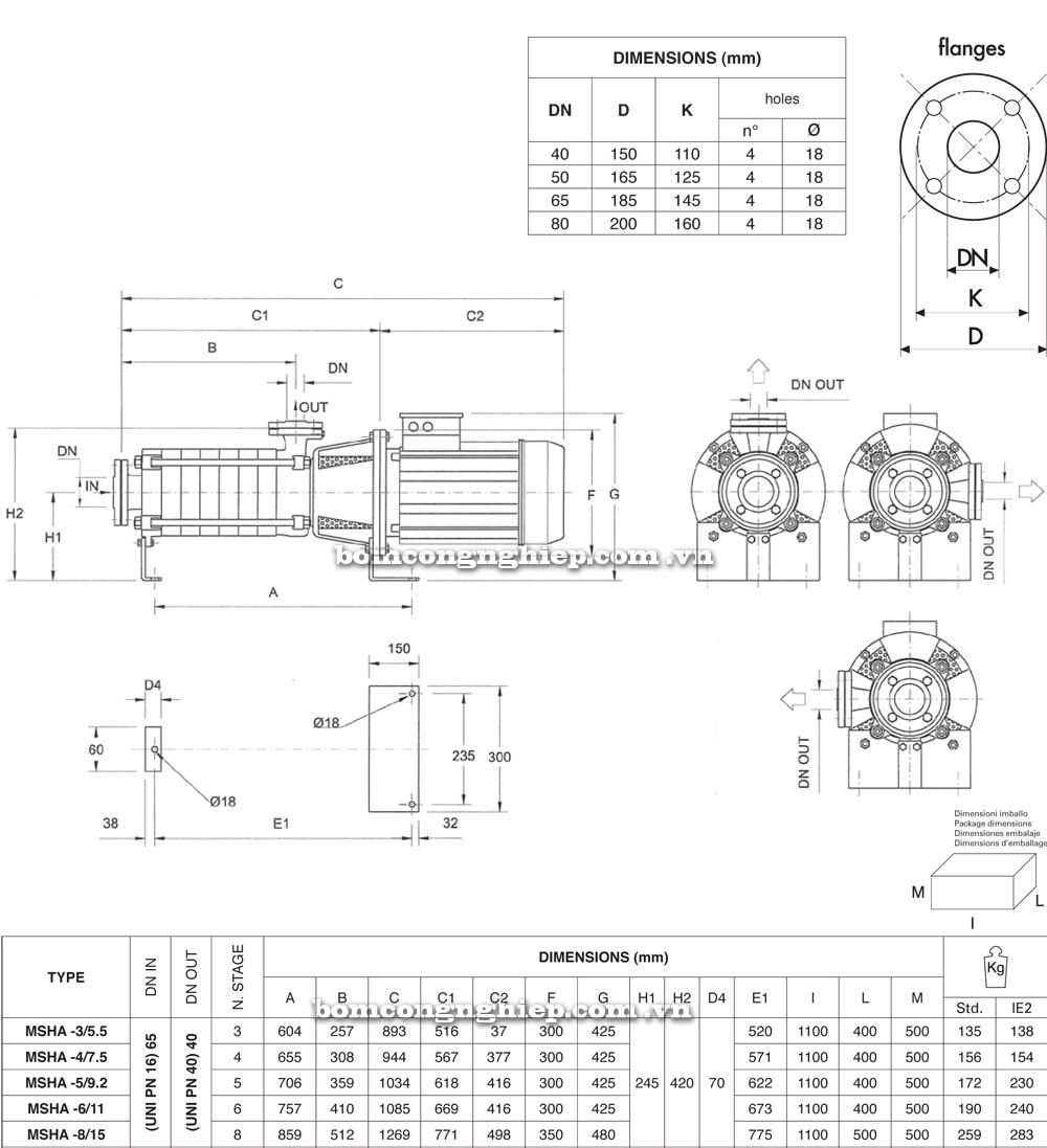 Máy bơm nước Pentax MSVA chi tiết kích thước
