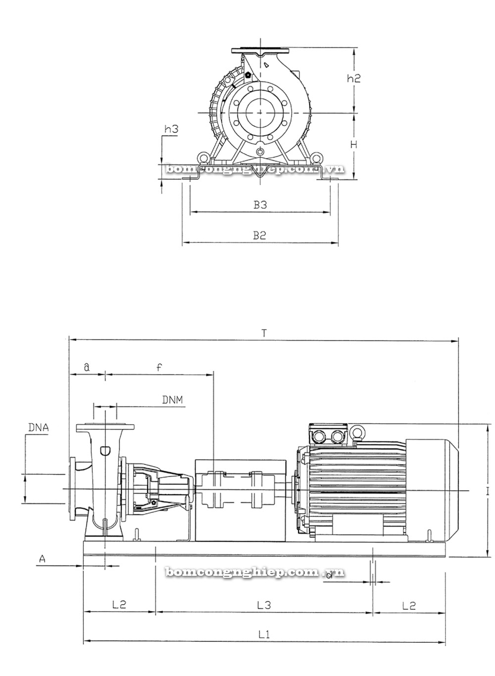 Máy bơm nước Pentax 32 250 kích thước