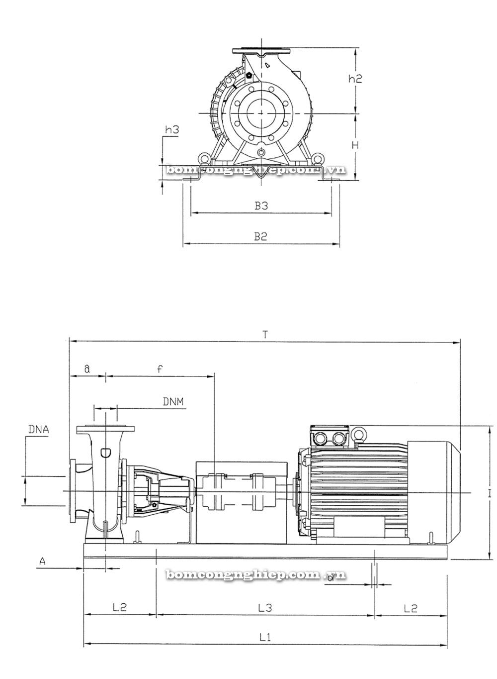 Máy bơm nước Pentax 40 250 kích thước