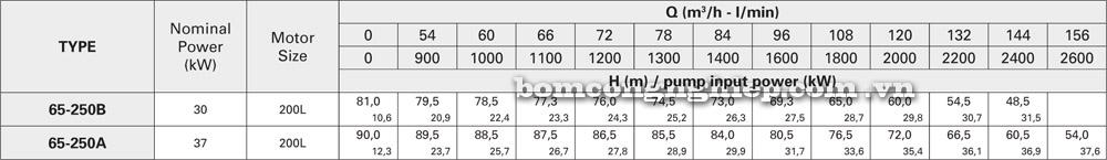Máy bơm nước Pentax CA 65 250 lưu lượng cột áp