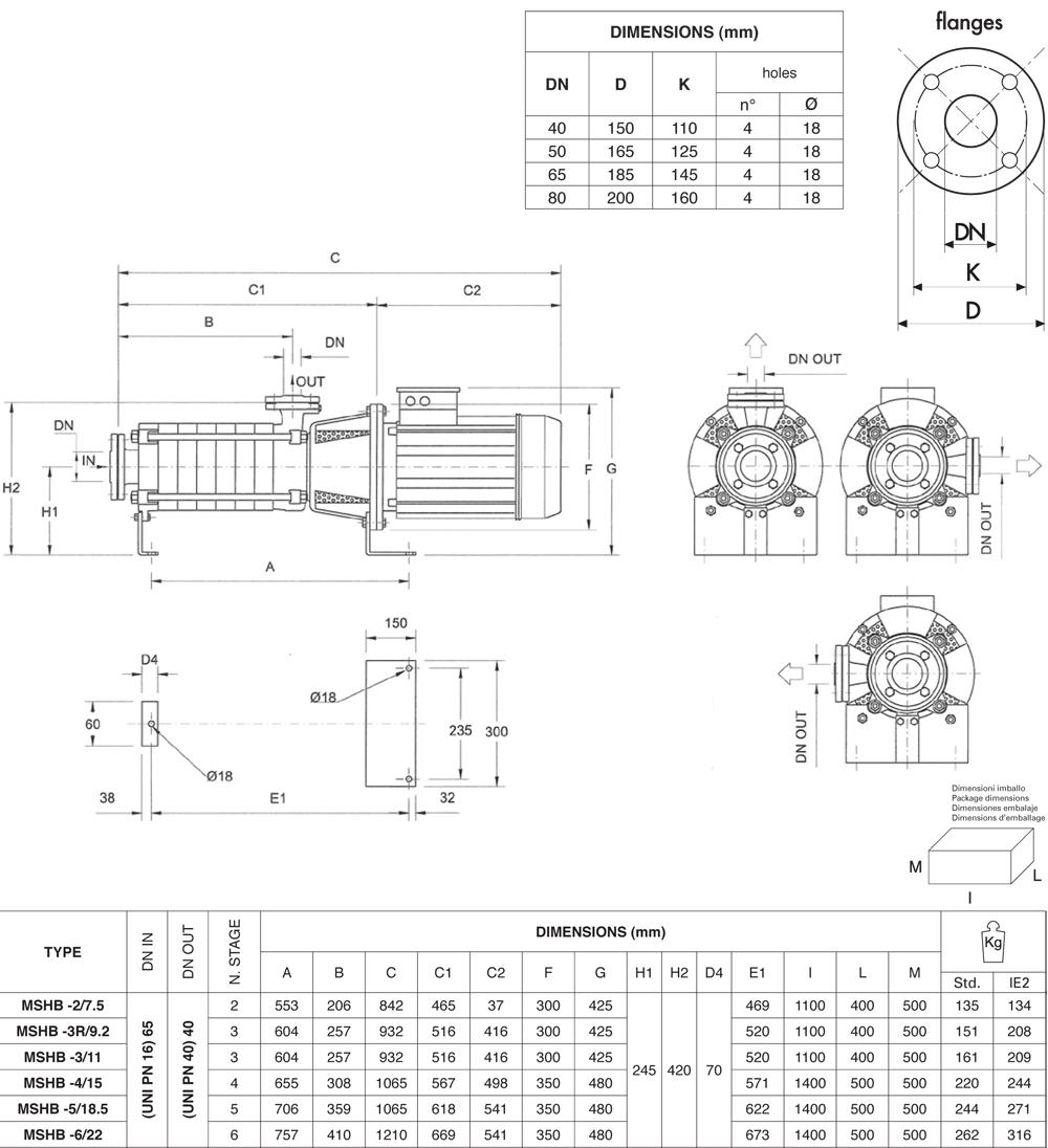 Máy bơm nước Pentax MS MSVB chi tiết kích thước