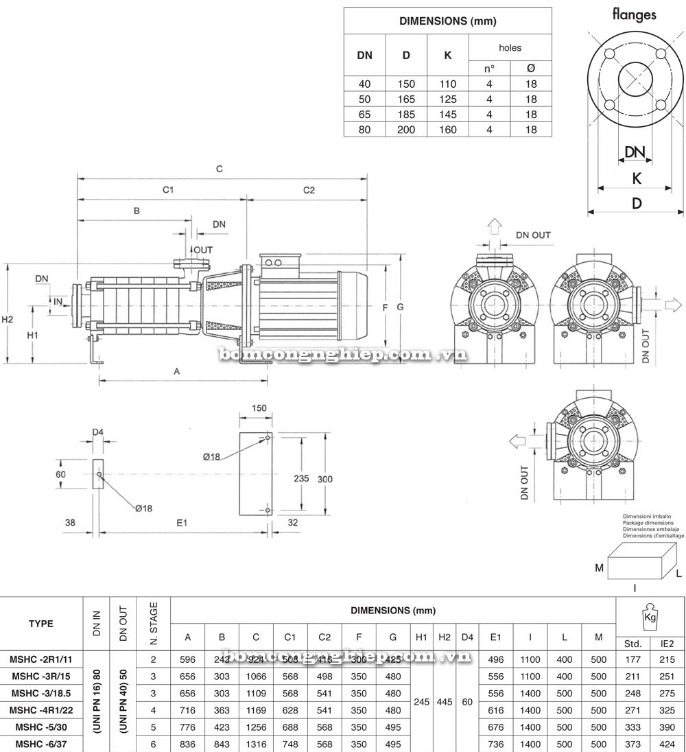 Máy bơm nước Pentax MS MSVC chi tiết kích thước