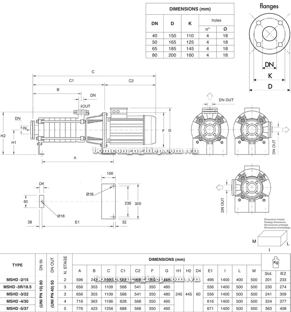 Máy bơm nước Pentax MS MSVD chi tiết kích thước