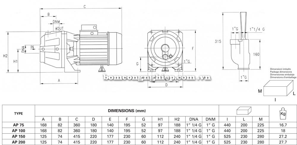 Máy bơm nước Pentax AP 75 chi tiết kích thước