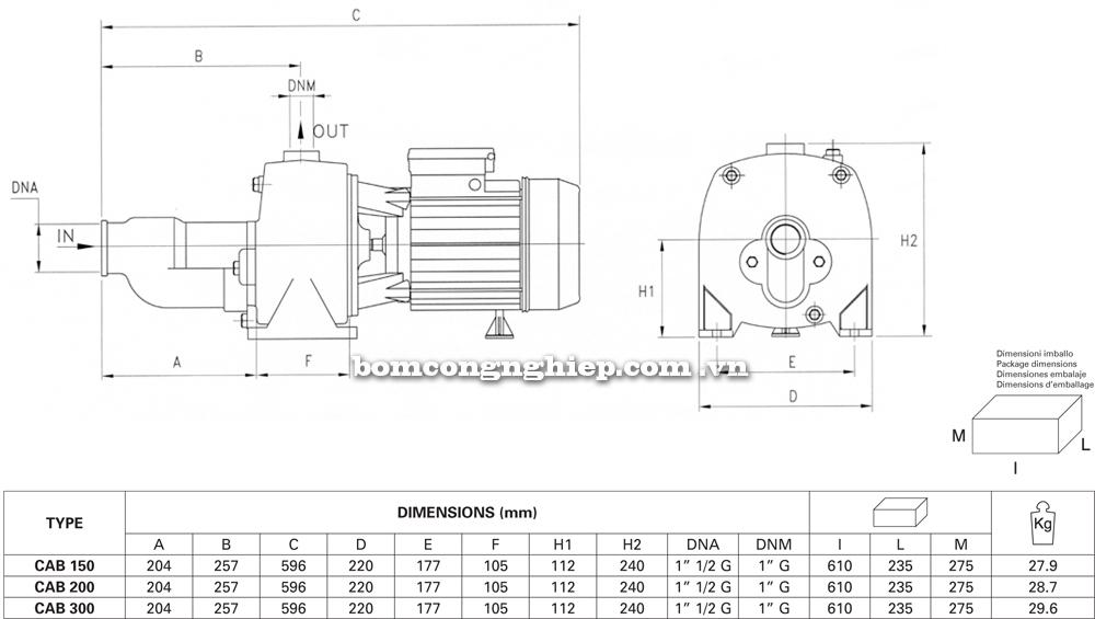 Máy bơm nước Pentax CAB chi tiết kích thước