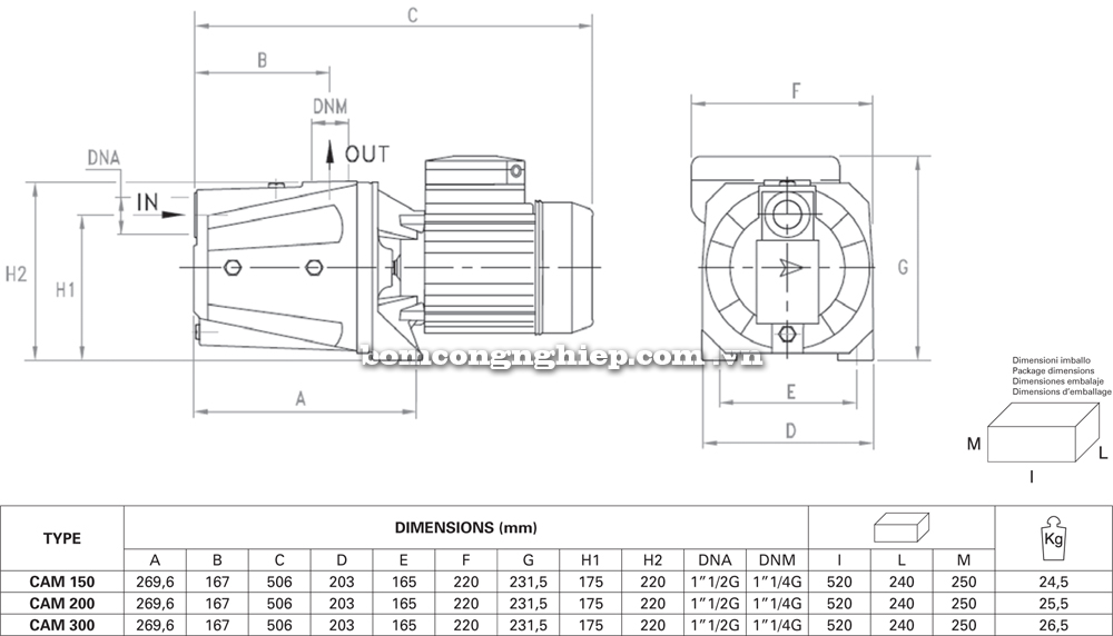 Máy bơm nước Pentax CAM 150 300 chi tietes kích thước