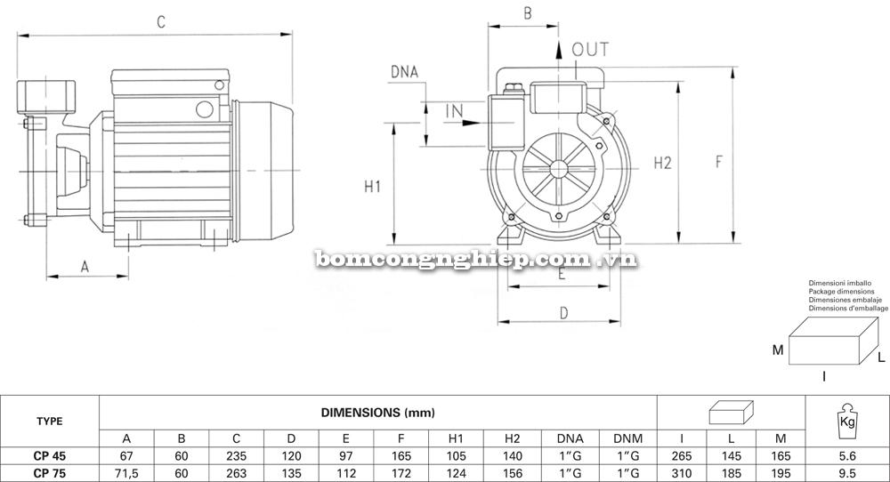 Máy bơm nước Pentax CP kích thước