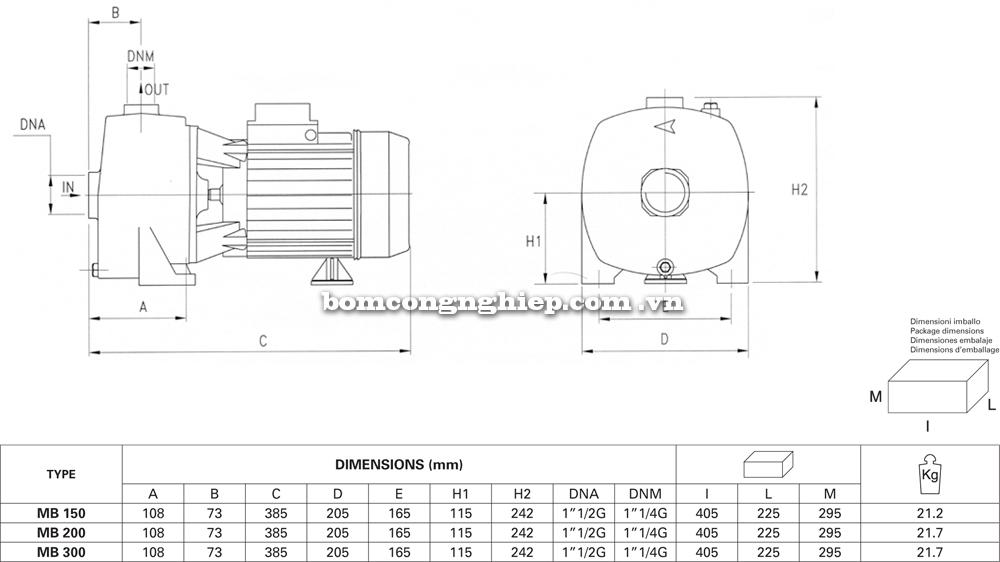 Máy bơm nước Pentax MB chi tiết kích thước