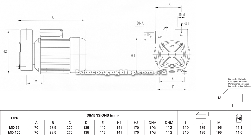 Máy bơm nước Pentax MD chi tiết kích thước