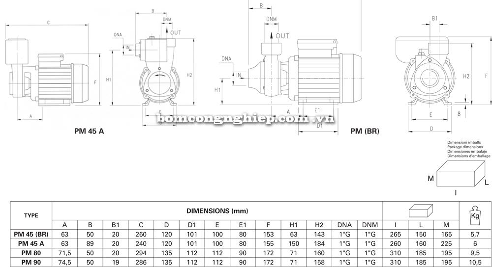 Máy bơm nước pentax PM chi tiết kích thước