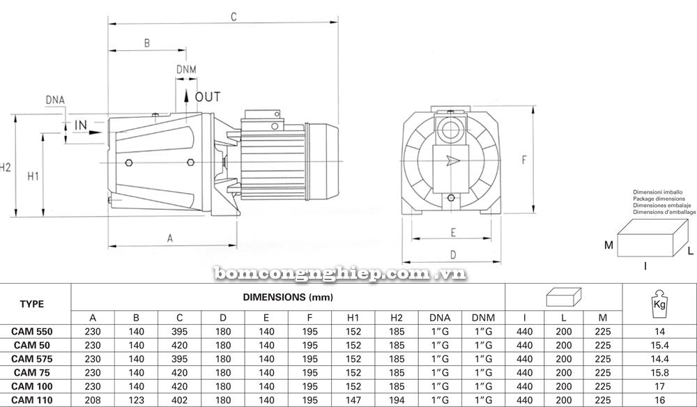 Chi tiết kích thước Máy bơm nước Pentax CAM