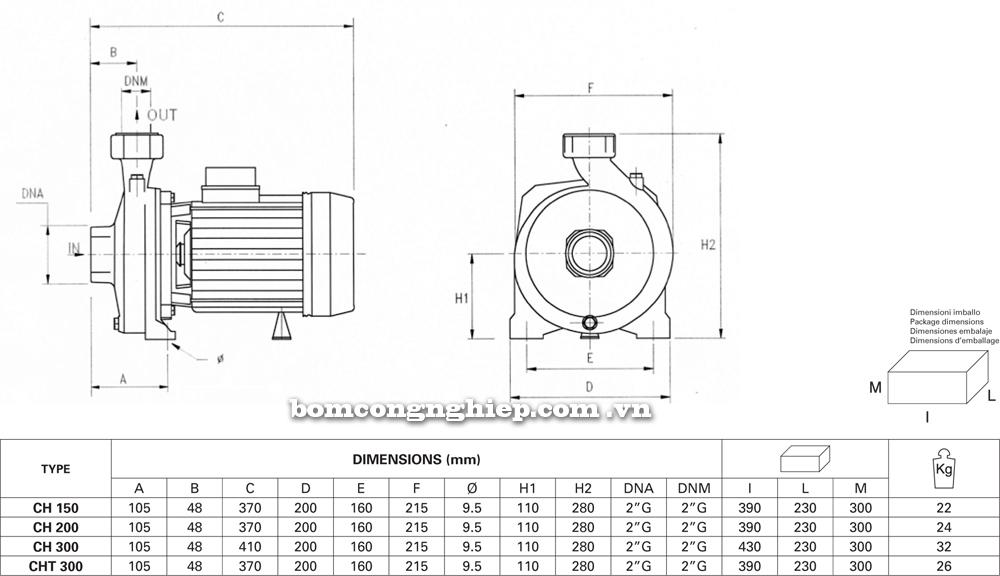chi tiết kích thước Máy bơm nước Pentax CH 150 300