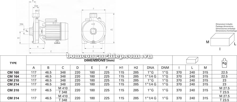 chi tiết kích thước Máy bơm nước Pentax CM 160 310