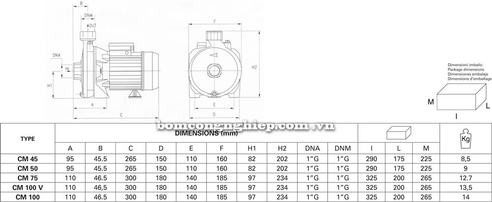 Bảng chi tiết kích thước Máy bơm nước Pentax CM 45 -100