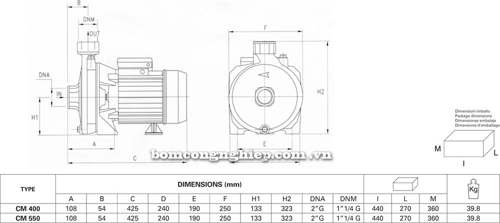 Chi tiết kích thước Máy bơm nước Pentax CM 400 550