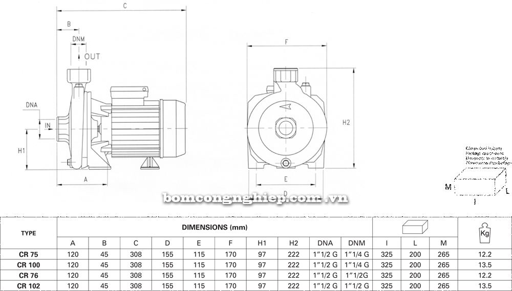 Chi tiết kích thước Máy bơm nước Pentax CR