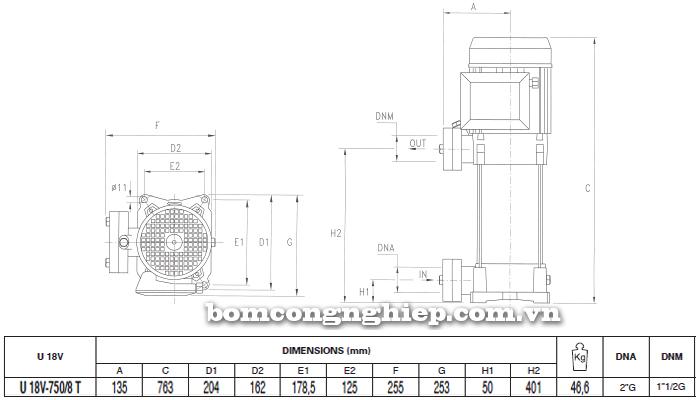 Máy bơm áp lực Pentax U18V-750 bảng thông số kích thước