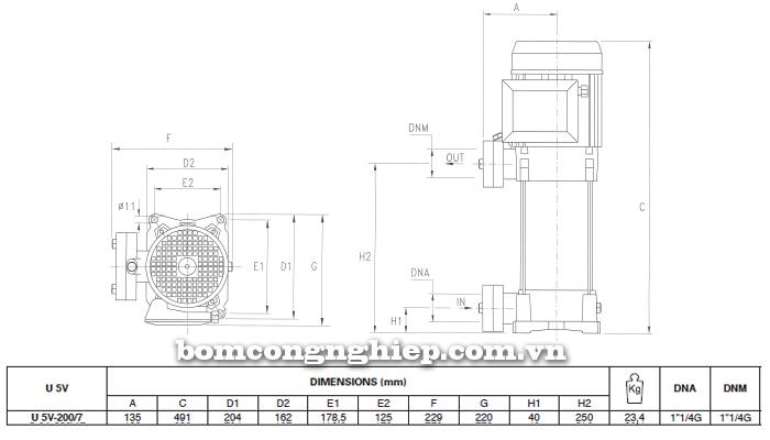 Máy bơm áp lực Pentax U5V - 200/7T bảng thông số kích thước