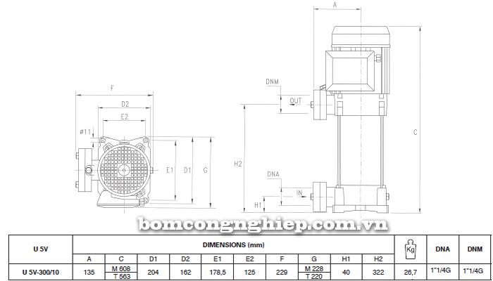 Máy bơm áp lực Pentax U5V – 300/10T bảng thông số kích thước