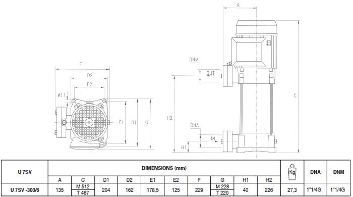 Máy bơm áp lực Pentax U7SV-300 bảng thông số kích thước