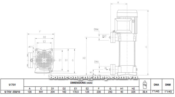 Máy bơm áp lực Pentax U7SV-550 bảng thông số kích thước