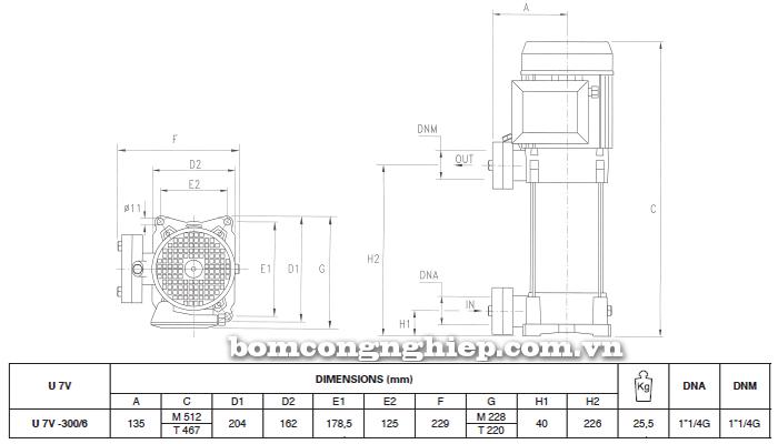 Máy bơm áp lực Pentax U7V-300 bảng thông số kích thước