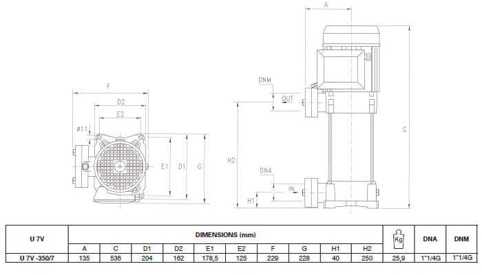 Máy bơm áp lực Pentax U7V–350/7T bảng thông số kích thước