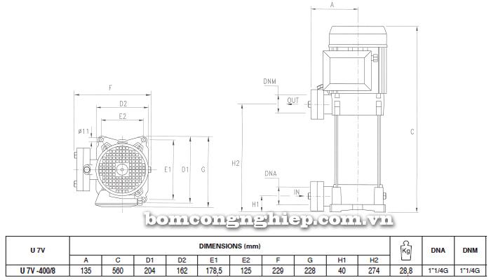 Máy bơm áp lực Pentax U7V-400 bảng thông số kích thước