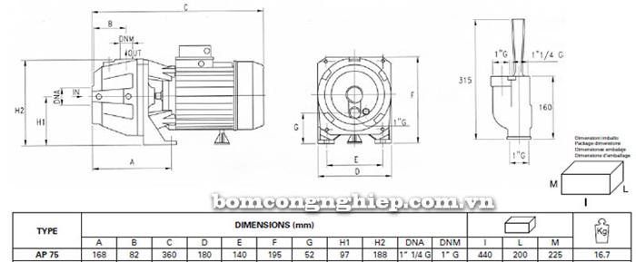 Máy bơm bán chân không Pentax AP 75 bảng thông số kích thước