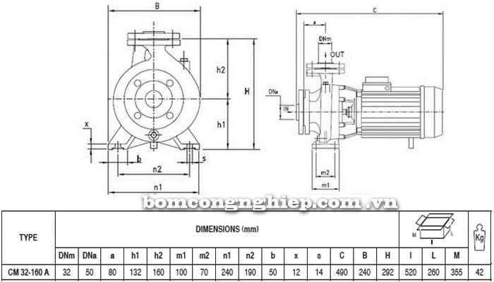 Máy bơm công nghiệp pccc Pentax CM 32-160A bảng thông số kích thước
