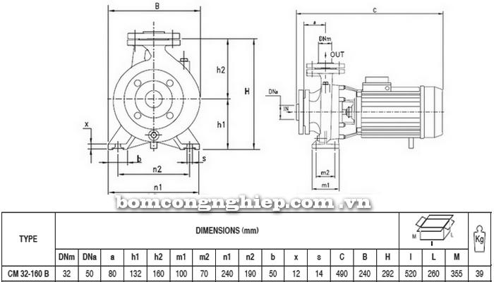 Máy bơm công nghiệp pccc Pentax CM 32-160B bảng thông số kích thước