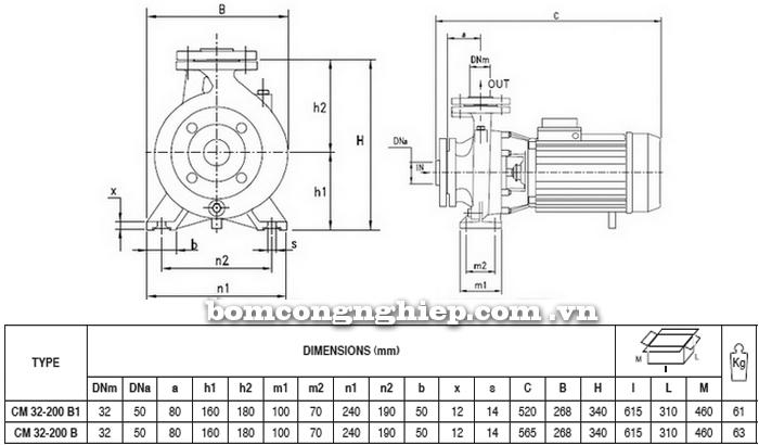 Máy bơm công nghiệp pccc Pentax CM 32-200B bảng thông số kích thước