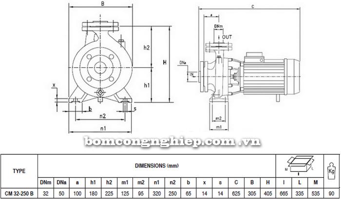 Máy bơm công nghiệp pccc Pentax CM 32-250B bảng thông số kích thước