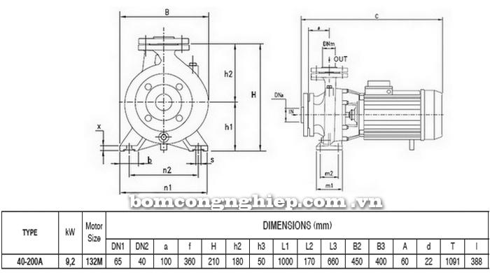 Máy bơm công nghiệp pccc Pentax CM 40-200A bảng thông số kích thước