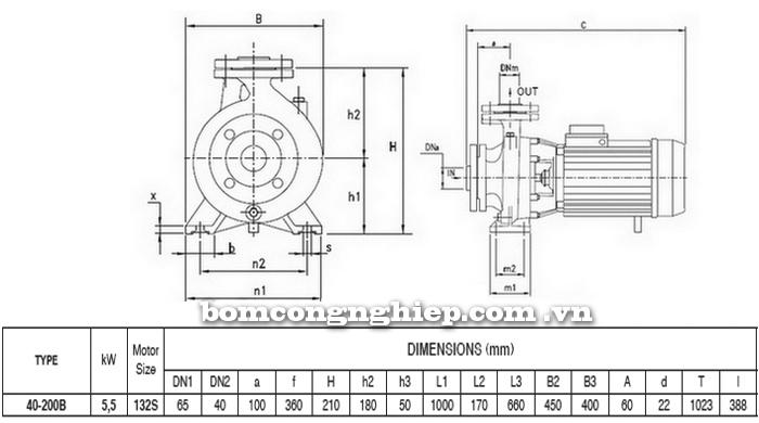 Máy bơm công nghiệp pccc Pentax CM 40-200B bảng thông số kích thước