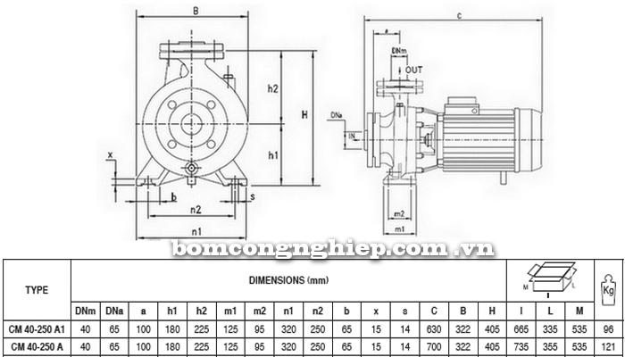 Máy bơm công nghiệp pccc Pentax CM 40-250A bảng thông số kích thước