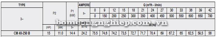 Máy bơm công nghiệp pccc Pentax CM 40-250B bảng thông số kỹ thuật