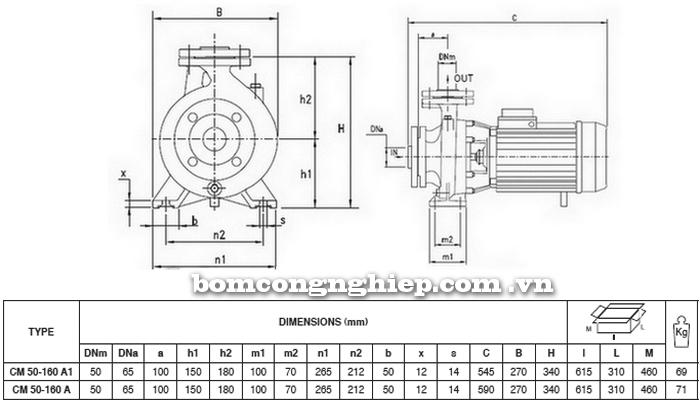 Máy bơm công nghiệp pccc Pentax CM 50-160A bảng thông số kích thước