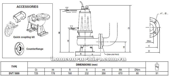 Máy bơm hố móng Pentax DVT 1000 bảng thông số kích thước