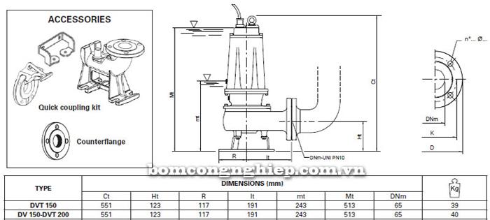 Máy bơm hố móng Pentax DVT 150 bảng thông số kích thước