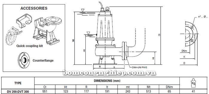 Máy bơm hố móng Pentax DVT 300 bảng thông số kích thước