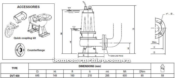 Máy bơm hố móng Pentax DVT 400 bảng thông số kích thước