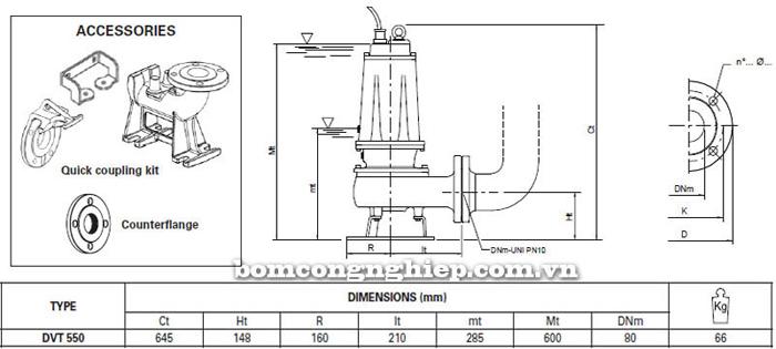 Máy bơm hố móng Pentax DVT 550 bảng thông số kích thước