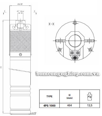 Máy bơm hỏa tiễn Pentax 4SP 1000 bảng thông số kích thước
