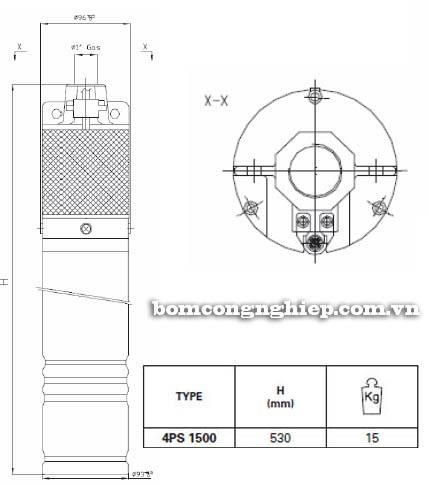 Máy bơm hỏa tiễn Pentax 4SP 1500 bảng thông số kích thước