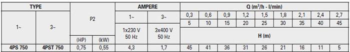 Máy bơm hỏa tiễn Pentax 4SP 750 bảng thông số kỹ thuật