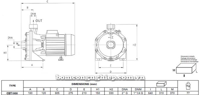 Máy bơm ly tâm Pentax CBT 1000 bảng thông số kích thước