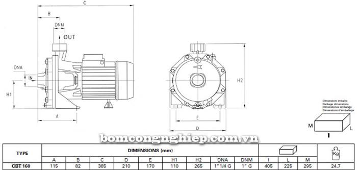 Máy bơm ly tâm Pentax CBT 160 bảng thông số kích thước