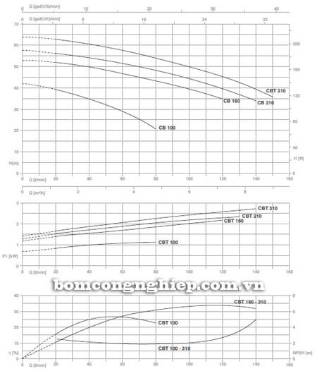 Máy bơm ly tâm Pentax CBT 160 biểu đồ lưu lượng